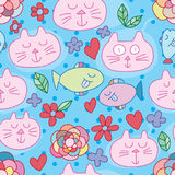 Cat swim dream love fish flower seamless pattern. This illustration is drawing and design abstract animal cat and fish with flower in blue color dotted Stock Photos