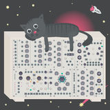 Cat on synthesizer in space with spaceship and asteroid Stock Image