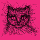 Cat. T-shirt graphics. Doodle. T-shirt graphics. Simple drawing liner. Doodle. Children's drawing. Cat Royalty Free Stock Images