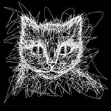 Cat. T-shirt graphics. Simple drawing liner. Royalty Free Stock Photography