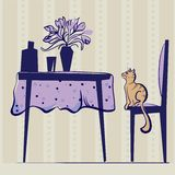 Cat table interiors Stock Photography