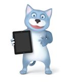 Cat with tablet pc Stock Photos