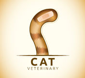 Cat tail with a Band Aid - Cat Veterinary icon Stock Photos