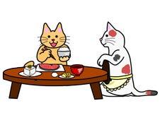 Cat taking Japanese breakfast Royalty Free Stock Photos