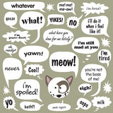 Cat Talk. Cat phrases in various cartoon balloons Royalty Free Stock Photos