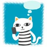 Cat talk to smartphone Stock Photos