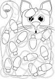 Cat Tangled en las luces de la Navidad que colorean la página ilustración del vector