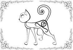 Cat with tattoo. Vector based card template Stock Photos