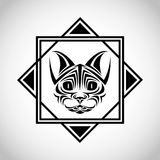 Cat tattoo animal design. Cat tattoo animal draw abstract icon. flat frame and isolated design. Vector illustration Royalty Free Stock Images