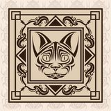 Cat tattoo animal design. Cat tattoo animal draw abstract icon. Colorful and frame design. Vector illustration Stock Photo