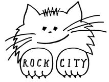 Cat tattoo ROCK CITY. Cat is for tattoo, print, posters, t-shirts and textiles Stock Photos