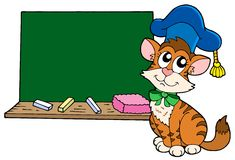 Cat teacher with blackboard Royalty Free Stock Photography