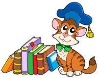 Cat teacher with books. Vector illustration Stock Photos