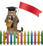 Cat teacher with a red flag. The cat teacher is holding a book ` ABC ` and a red flag. White background stock illustration