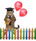 Cat teacher with red balloons