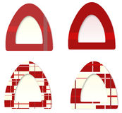 Cat Tent. Four samples of cats tents fill in with red and lines textures vector illustration
