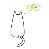 Cat thinking about fish. Hand drawn vector illustration with simple outline of a cat from behind with thought bubble containing golden fish. Unfilled outline on Stock Images