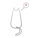 Cat thinking about love. Hand drawn vector illustration with simple outline of a cat from behind with thought bubble containing pink heart. Unfilled outline on stock illustration