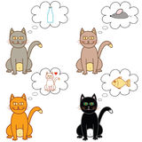 Cat thoughts in a bubble. Four different coloured cats with their thouhts in a bubble Stock Image