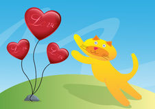 Cat and Three Love Ballon Illustration Stock Photography