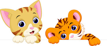 Cat and tiger cartoon Royalty Free Stock Photography