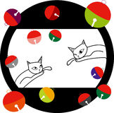 Cat and tin. It was a cat and tin in Japanese-style pattern Stock Image