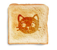 Cat on toasted bread Royalty Free Stock Image