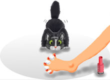Cat and toenails. Illustration of a cat and a foot with painted toenails drying with cotton balls Royalty Free Stock Image