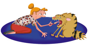 Cat toothbrush. Cartoon illustration of a woman brushing her cat's teeth vector illustration