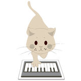 Cat Touching Screen Tablet Royalty Free Stock Image