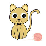 Cat and toy cartoon vector illustration. Cute cat and toy cartoon vector illustration eps 10 isolated Stock Photo
