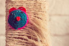 Cat toy with colorful mouse face Royalty Free Stock Image