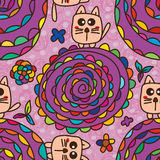 Cat toy flower seamless pattern Royalty Free Stock Photo