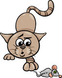 Cat with toy mouse cartoon illustration Stock Photos