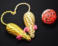 Cat toys: mice and balls stock photos