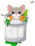 Cat in trash cartoon Royalty Free Stock Image