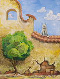 Cat and the tree. The cat is sitting on the old yellow wall and looking at the small green tree. My oil painting, 30 x 40 cm Stock Photo