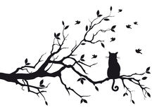 Cat on a tree branch. Cat sitting on a tree branch and watching birds, background stock illustration