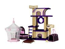 Cat tree, house, toys, bag Stock Photos
