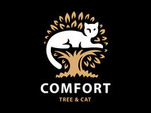 Cat and tree logo design on black background. Vector Icon Stock Photography