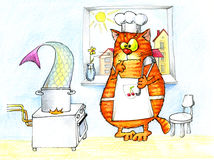 Cat tries to cook very big fish Royalty Free Stock Photography