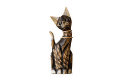 Cat Trinket. Close up front view of brown wooden cat trinket, isolated on white background Stock Photography