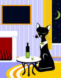 Cat with tube and wine Royalty Free Stock Images
