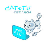 Cat TV symbol Stock Images
