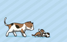 Cat and two Kitty are playing. Vector illustration Cat and two Kitty are playing cartoon style Vector Illustration