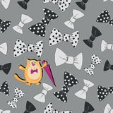 Cat with an umbrella and bow tie. Seamless pattern on a gray background. Design for textiles, decoration of gift wrapping for Father`s Day Stock Image