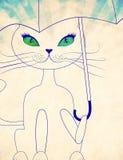 Cat with umbrella Stock Image