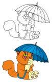 Cat with umbrella royalty free illustration