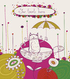 Tea time template design.Vector illustration. Brig Royalty Free Stock Images