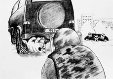 The cat is under the car. Caricature, pencil drawing. The cat is under the car, mistaken for a bomb Royalty Free Stock Photo